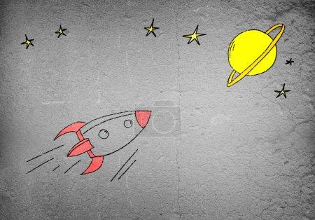 flying drawn rocket