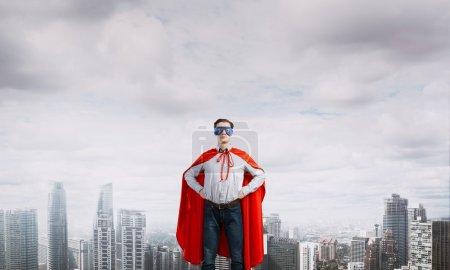super hero businessman in mask