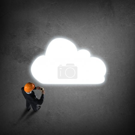 engineer man and thought cloud