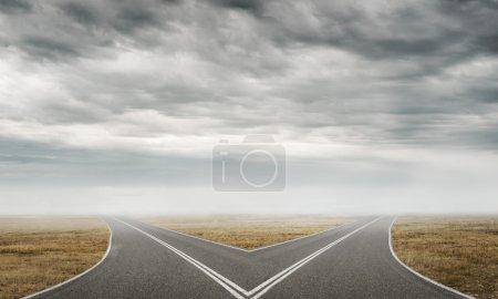 Photo for Natural landscape image of forked asphalt road. Asphalt crossroad image - Royalty Free Image