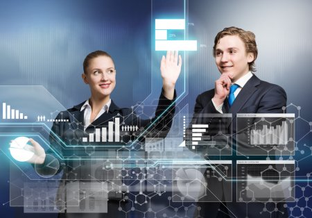 businessman and businesswoman with virtual panel