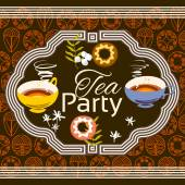 Tea party invitation card Frame over pattern background colorf