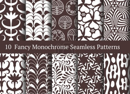 Abstract seamless patterns. Geometrical and floral ornamental mo