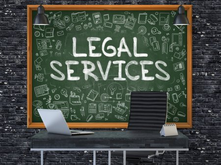 Chalkboard on the Office Wall with Legal Services Concept.
