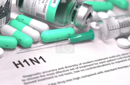 Diagnosis - H1N1. Medical Concept with Blurred Background.