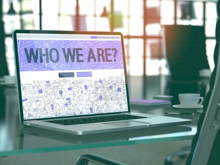 Photo pour Who We Are Concept Closeup on Landing Page of Laptop Screen in Modern Office Workplace. Toned Image with Selective Focus. 3D Render. - image libre de droit