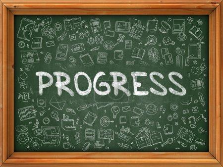 Progress Concept. Doodle Icons on Chalkboard.