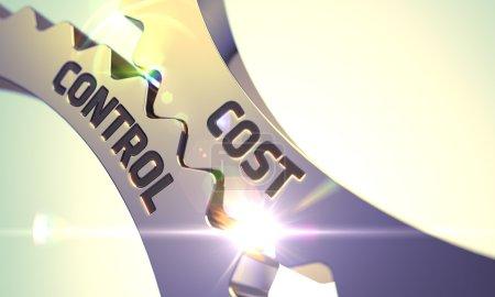 Photo pour Or métallisées roues dentées, avec le Concept de contrôle des coûts. 3D. - image libre de droit