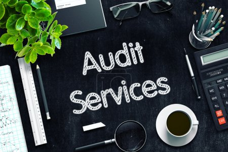 Black Chalkboard with Audit Services Concept. 3D Rendering.