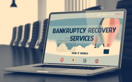 Bankruptcy Recovery Services on Laptop in Meeting Room.