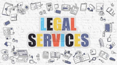 Legal Services Concept. Multicolor on White Brickwall.