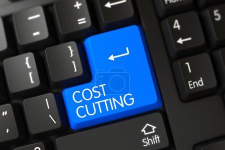Photo pour Un clavier avec clavier bleu - Réduction des coûts. Expéditeur 3D . - image libre de droit