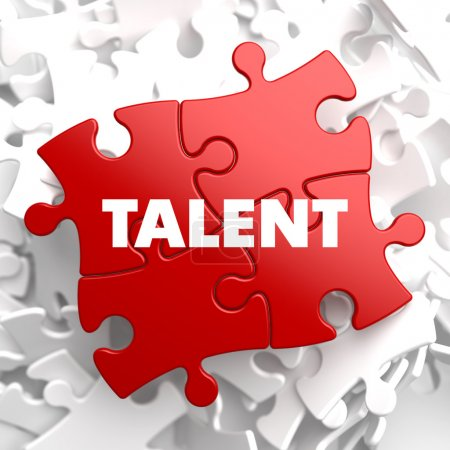 Photo for Talent on Red Puzzle on White Background. - Royalty Free Image