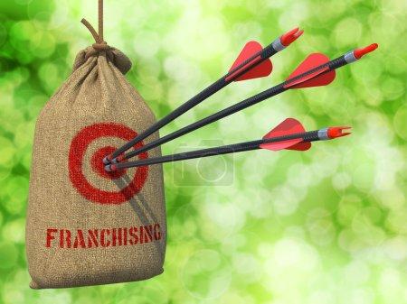Photo pour Franchisage - trois flèches frappés cible rouge sur un sac de pendaison sur fond vert bokeh. - image libre de droit
