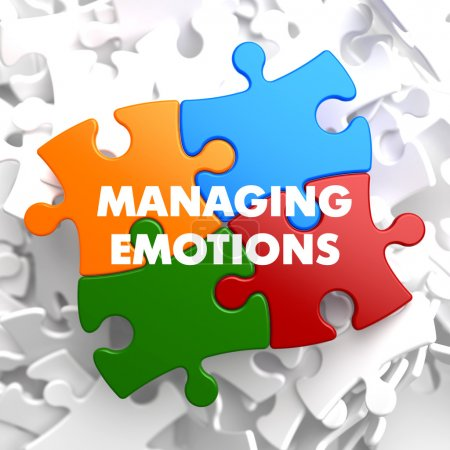 Photo for Managing Emotions  on Multicolor Puzzle on White Background. - Royalty Free Image