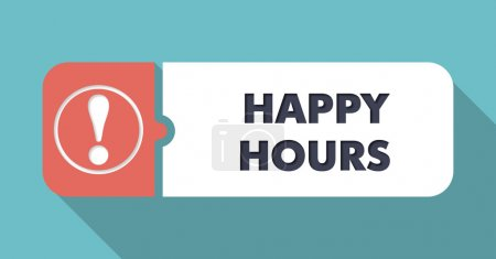 Photo for Happy Hours  in Flat Design with Long Shadows on Turquoise Background. - Royalty Free Image