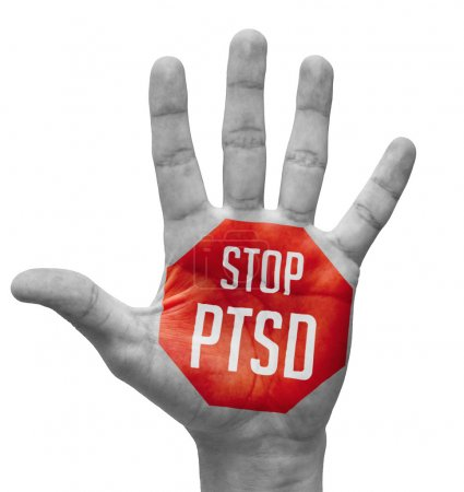 Photo for Stop PTSD Sign Painted, Open Hand Raised, Isolated on White Background. - Royalty Free Image