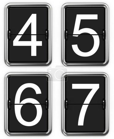 Digits 4, 5, 6, 7 on Mechanical Scoreboard.