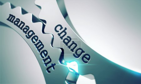 Photo pour Change Management Concept on the Mechanism of Shiny Metal Gears. - image libre de droit