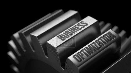Photo pour Optimisation de l'activité sur les engrenages métalliques sur fond noir . - image libre de droit