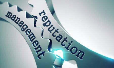 Photo pour Concept de gestion de réputation sur le mécanisme des roues dentées en métal . - image libre de droit