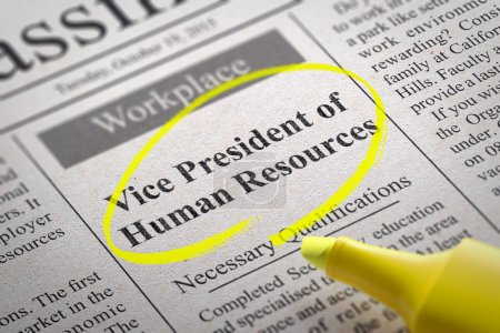 Photo pour Vice President of Human Resources Vacancy in Newspaper. Job Search Concept - image libre de droit