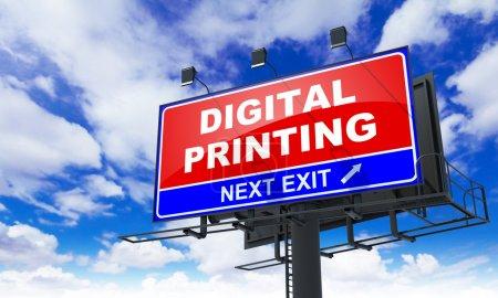 Digital Printing on Red Billboard.