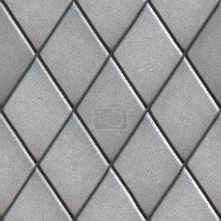 Gray Paving  Slabs Laid as Pattern of Rhombuses. S...