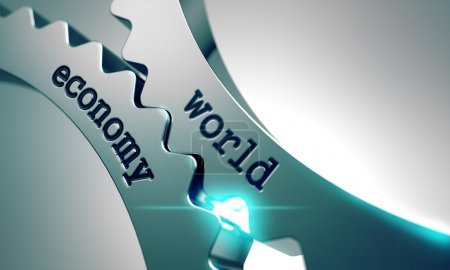 Photo pour L'économie mondiale sur le mécanisme des roues dentées en métal - image libre de droit