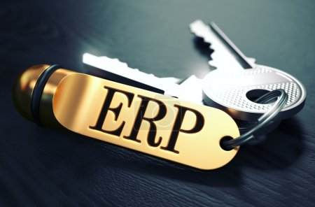 Photo for ERP - Enterprise Resource Planning - Concept. Keys with Golden Keyring on Black Wooden Table. Closeup View, Selective Focus, 3D Render. Toned Image - Royalty Free Image