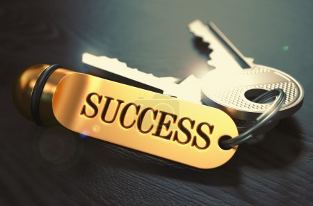 Photo for Keys to Success - Concept on Golden Keychain over Black Wooden Background. Closeup View, Selective Focus, 3D Render. Toned Image - Royalty Free Image