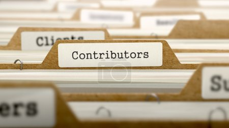 Contributors Concept with Word on Folder.