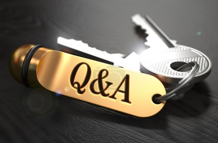 Questions and Answers Concept. Keys with Golden Keyring.