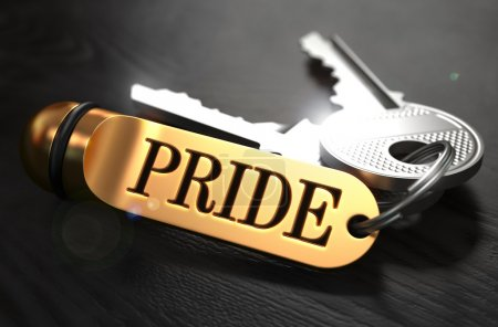 Pride written on Golden Keyring.