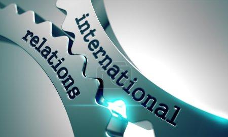 Photo pour Relations internationales sur le mécanisme des engrenages métalliques - image libre de droit