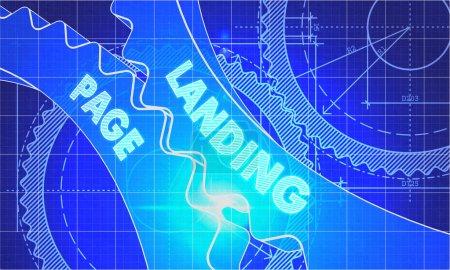 Photo pour Landing Page sur Blueprint of Cogs. Style de dessin technique. Illustration 3d avec effet lumineux - image libre de droit