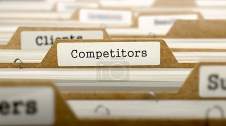 Photo for Competitors Concept. Word on Folder Register of Card Index. Selective Focus - Royalty Free Image