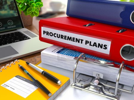 Photo for Red Ring Binder with Inscription Procurement Plans on Background of Working Table with Office Supplies, Laptop, Reports. Toned Illustration. Business Concept on Blurred Background - Royalty Free Image