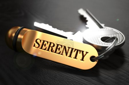 Keys with Word Serenity on Golden Label.