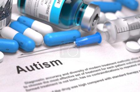 Diagnosis - Autism. Medical Concept. 3D Render.