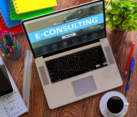 E-Consulting Concept. Modern Laptop and Different ...