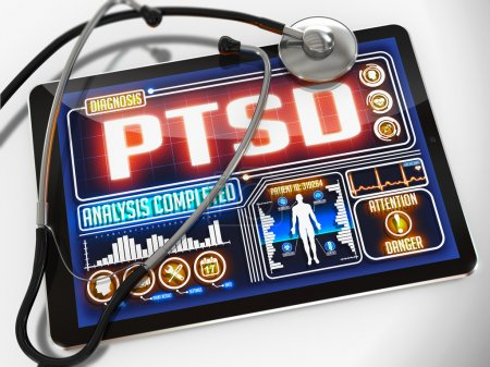 Photo for PTSD - Diagnosis on the Display of Medical Tablet and a Black Stethoscope on White Background - Royalty Free Image