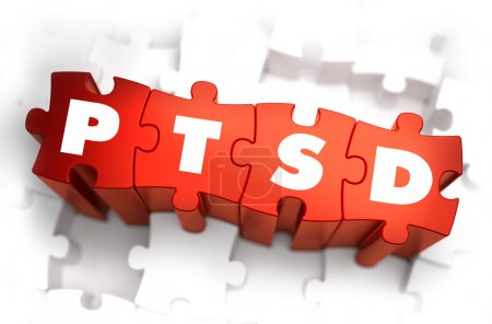 Photo for PTSD - Post Traumatic Stress Disorder - White Word on Red Puzzles on White Background. 3D Render - Royalty Free Image