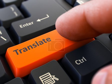 Translate Concept. Person Click Keyboard Button.