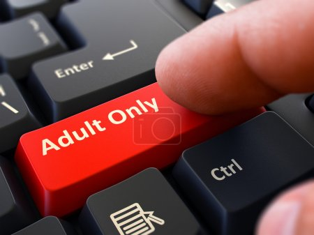 Adult Only Concept. Person Click Keyboard Button.