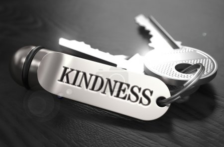 Photo for Kindness Concept. Keys with Keyring on Black Wooden Table. Closeup View, Selective Focus, 3D Render. Black and White Image - Royalty Free Image