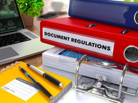 Red Ring Binder with Inscription Document Regulations