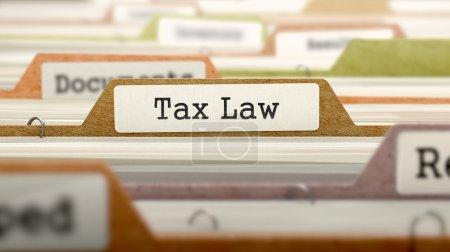 Photo pour Droit fiscal - Dossier Registre Nom dans le répertoire. Image floue et colorée. Vue rapprochée - image libre de droit