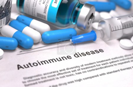 Photo for Diagnosis - Autoimmune Disease. Medical Concept with Blue Pills, Injections and Syringe. Selective Focus. Blurred Background - Royalty Free Image