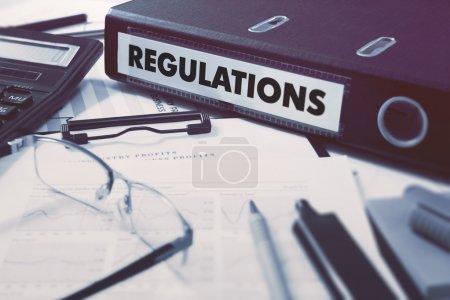 Regulations on Office Folder. Toned Image.